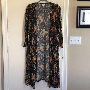 Ribbed Floral Duster Cardigan